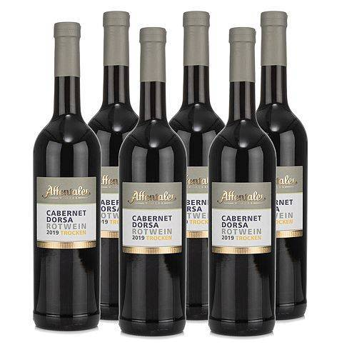 AFFENTALER WEIN Das besondere Fass 6 Flaschen Rotwein Cabernet Dorsa QbA Jg. 2019, trocken