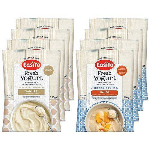 EASIYO Joghurtpulver 8 Beutel für 8kg Joghurt 2 Sorten