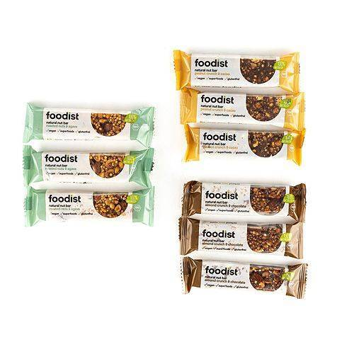FOODIST Nussriegel in Bio-Qualität 3 Sorten, 9 Riegel Inhalt 360g