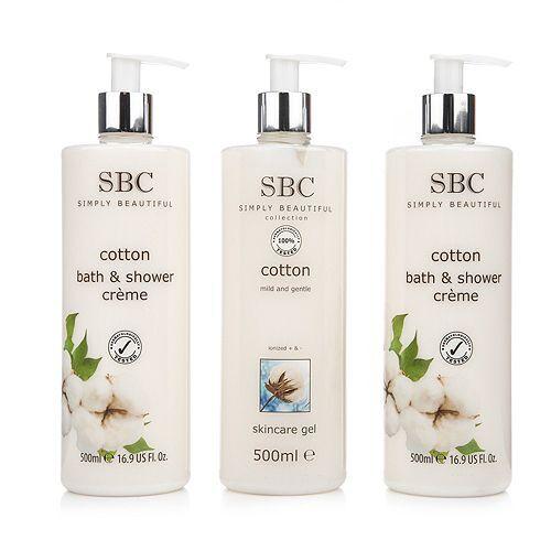 SBC Baumwolle Skincare Gel 500ml & Duschcreme 2x 500ml