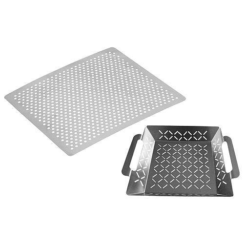 Grillzubehör-Set: Grillplatte & Grillkorb effizientes Grillen einfache Reinigung