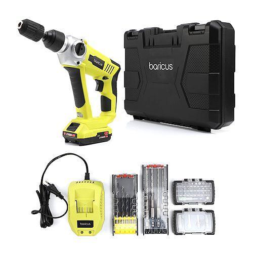 BARICUS Akku-Bohrhammer LED-Arbeitslicht inkl.Akku & Ladegerät 30tlg. Bit-Set