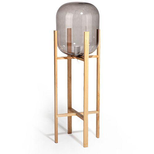 my HOME stories Stehlampe Glasaufsatz Ø 29,5cm Holzständer Höhe gesamt 95,5cm