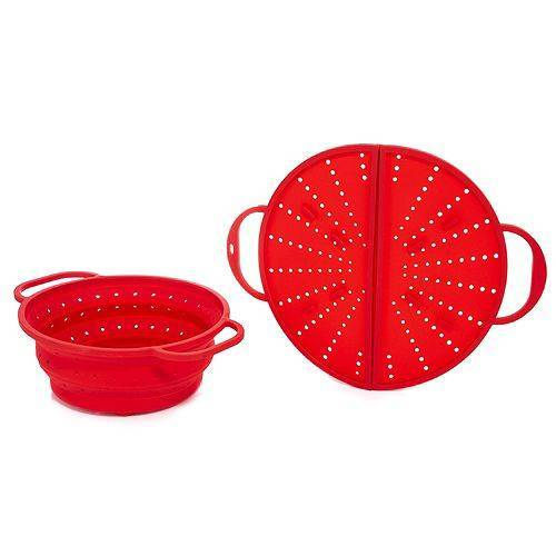Kochhelfer-Set Sieb und Spritzschutz aus Silikon faltbar 2tlg.