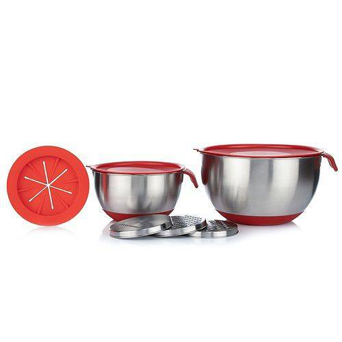 BAKING BOUTIQUE Küchenhelfer-Set Edelstahl-Schüsseln, inkl. 3 Reiben und Spritzschutz, 8tlg.
