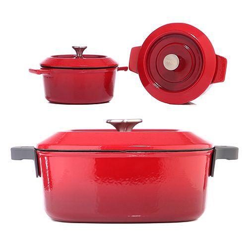 WOLL® Cast Iron Kasserole 24x24cm & 2 Mini- Kasserolen, 5,96kg Deckel & Silikongriff
