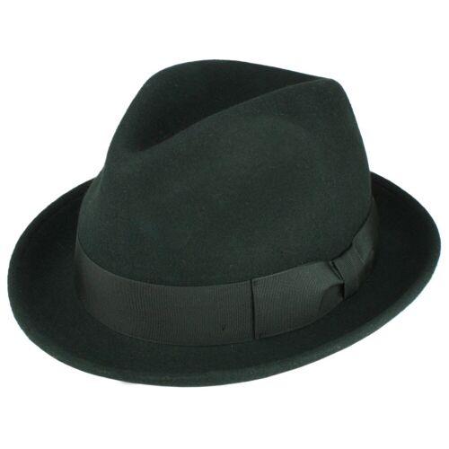 Rassow Gino Trilby Hut knautschbar aus Wollfilz, Schwarz (10) 54 cm