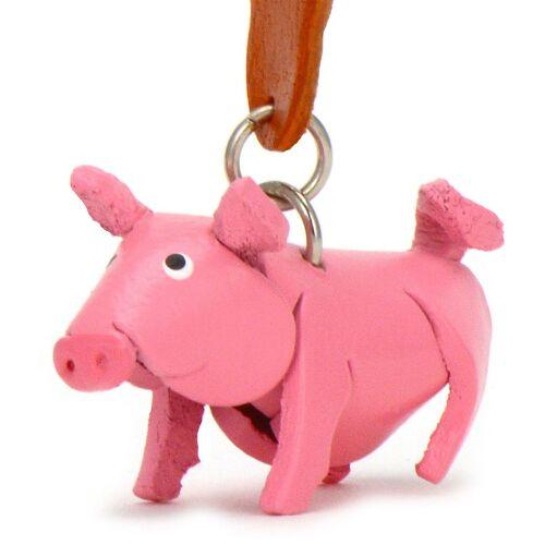 Monkimau Schwein Schlüsselanhänger aus Leder
