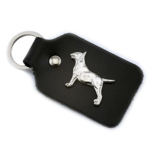 Monkimau Bullterrier Schlüsselanhänger aus Leder