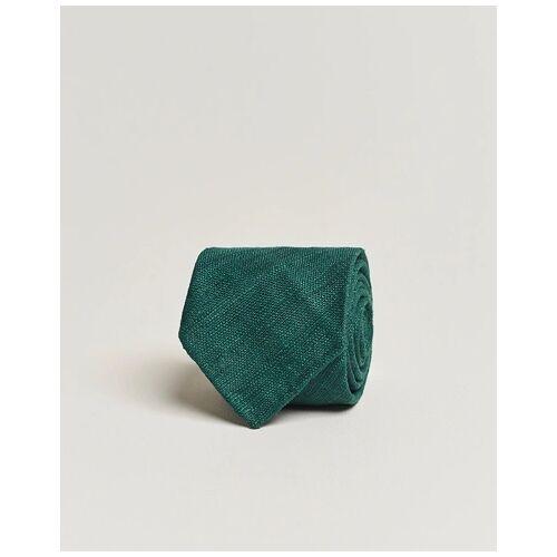 Drake's Tussah Silk Handrolled 8 cm Tie Green