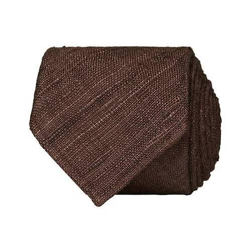 Drake's Tussah Silk Handrolled 8 cm Tie Brown