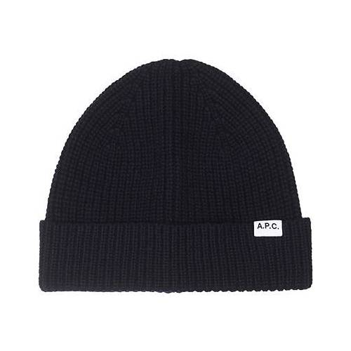 A.P.C. A.P.C Ribbed Wool/Cashmere Beanie Navy