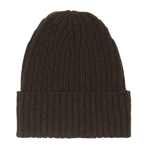Piacenza Cashmere Ribbed Cashmere Beanie Dark Brown