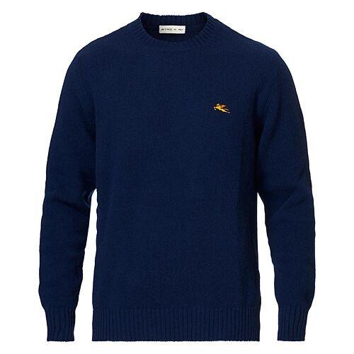 Etro Virgin Wool Crew Neck Sweater Dark Blue
