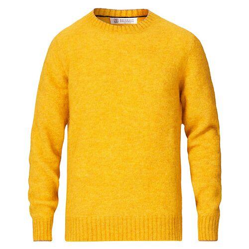 Brunello Cucinelli Soft Mohair Crew Neck Sweater Yellow