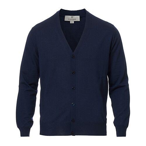 Canali Merino Wool Cardigan Dark Blue