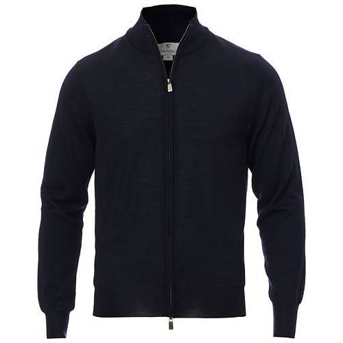 Canali Merino Wool Full-Zip Sweater Navy