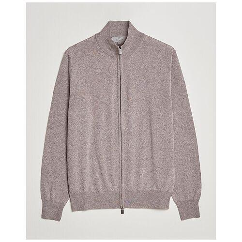 Canali Merino Wool Full-Zip Sweater Beige