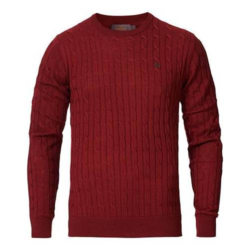 Morris Merino Cable O-Neck Wine Red