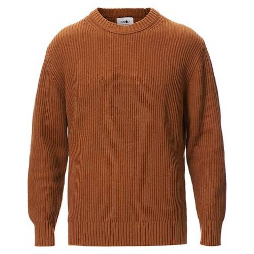NN07 Jim Ribbed Crew Neck Canela Brown