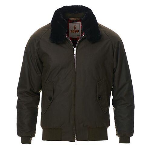 Baracuta G9 Padded Waxed Eco Fur Collar Jacket Deep Moss