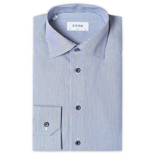 Eton Slim Fit Striped Poplin Cut Away Shirt Navy