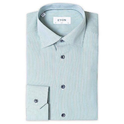 Eton Slim Fit Striped Poplin Cut Away Shirt Green