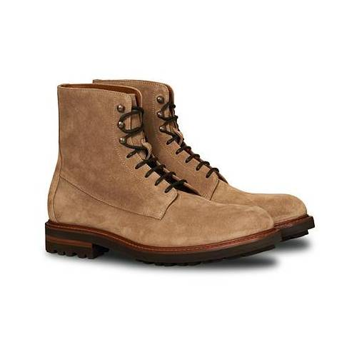 Brunello Cucinelli Plain Toe Leather Boot Sand Suede