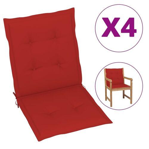 vidaXL Gartenstuhl Auflage 4 Stk. Rot 100 x 50 x 3 cm