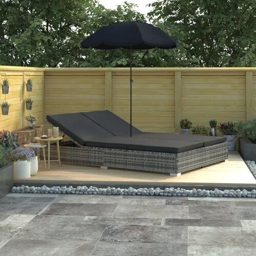vidaXL Outdoor-Loungebett mit Sonnenschirm Poly Rattan Grau