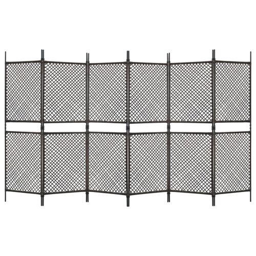vidaXL 6-tlg. Raumteiler Poly Rattan Braun 360 x 200 cm
