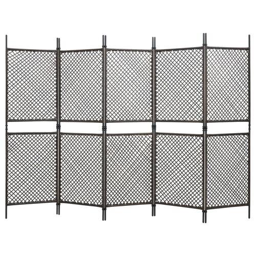 vidaXL 5-tlg. Raumteiler Poly Rattan Braun 300 x 200 cm