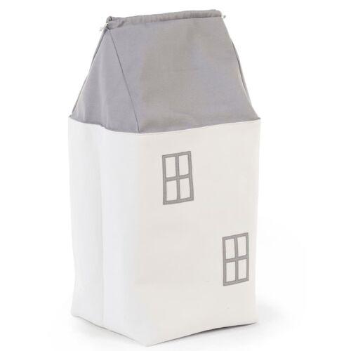 CHILDHOME Spielzeug Aufbewahrungsbox Haus Grau und Cremeweiß