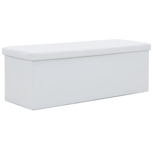 vidaXL Faltbare Sitzbank Kunstleder 110×38×38 cm Weiß