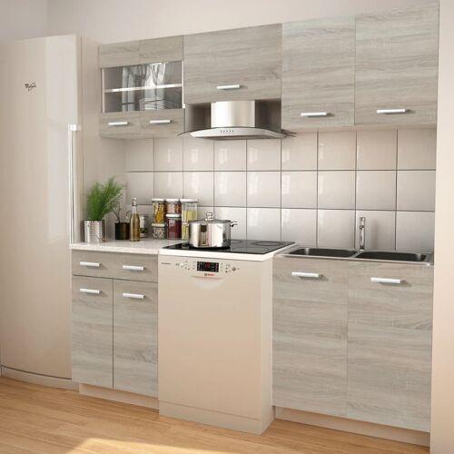 vidaXL 5-tlg. Küchenzeile Set mit Dunstabzugshaube Eiche-Optik