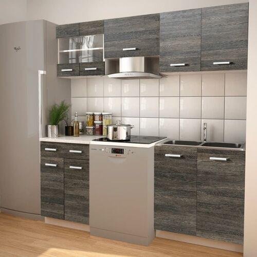 vidaXL 5-tlg. Küchenzeile Set mit Dunstabzugshaube Wenge-Optik