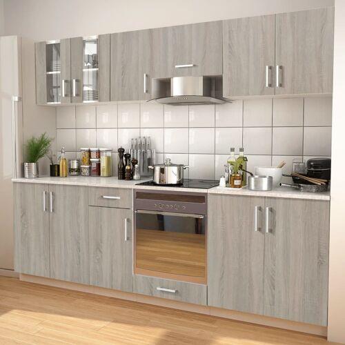 vidaXL 8-tlg. Küchenzeile Set mit Dunstabzugshaube Eiche-Optik