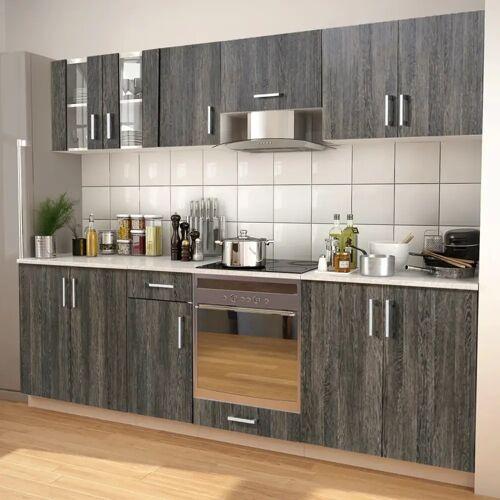 vidaXL 8-tlg. Küchenzeile Set mit Dunstabzugshaube Wenge-Optik