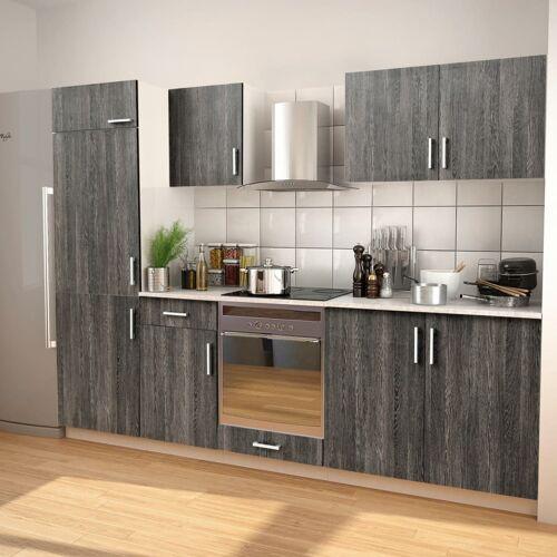 vidaXL 7-tlg. Küchenzeile Set mit Dunstabzugshaube Wenge-Optik