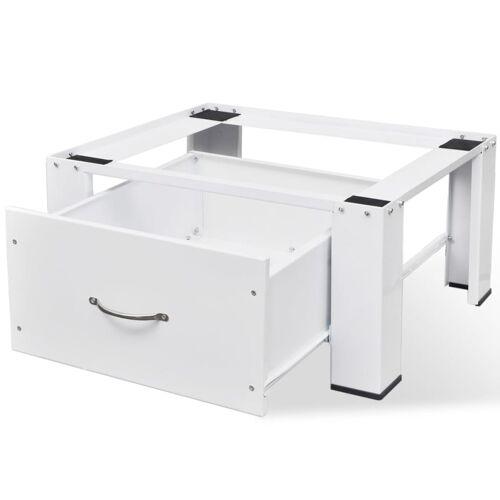 vidaXL Waschmaschinensockel mit Schublade Weiß