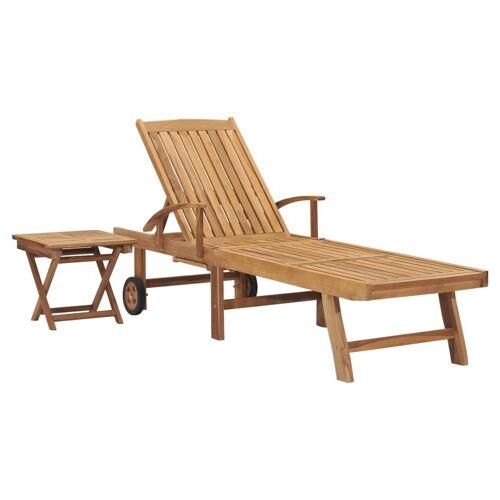 vidaXL Sonnenliege mit Tisch Massivholz Teak