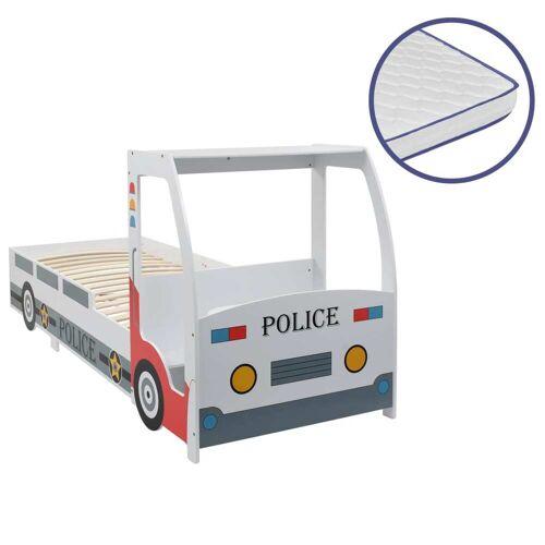vidaXL Polizeiauto-Kinderbett mit Memory-Schaum-Matratze 90×200 cm