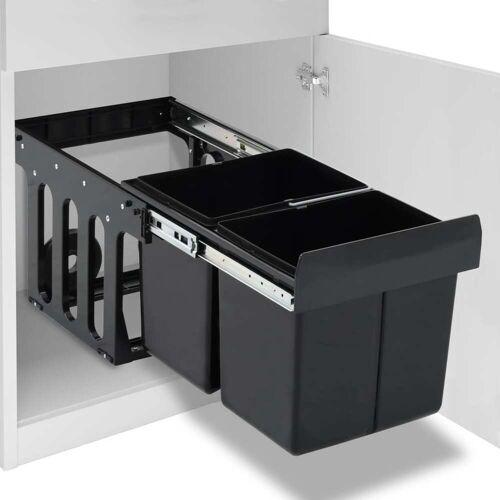 vidaXL Abfallbehälter für Küchenschrank Ausziehbar Soft-Close 36 L