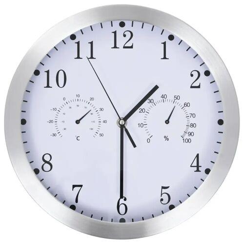 vidaXL Wanduhr mit Quarzwerk, Hygrometer und Thermometer 30 cm Weiß