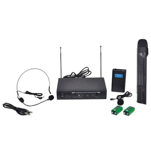 vidaXL Receiver mit 1 drahtlosen Mikrophon und 1 drahtlosen Headset VHF