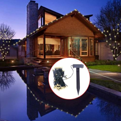 vidaXL LED Solar Lichterkette Warm-Weiß Weihnachtsdekoration