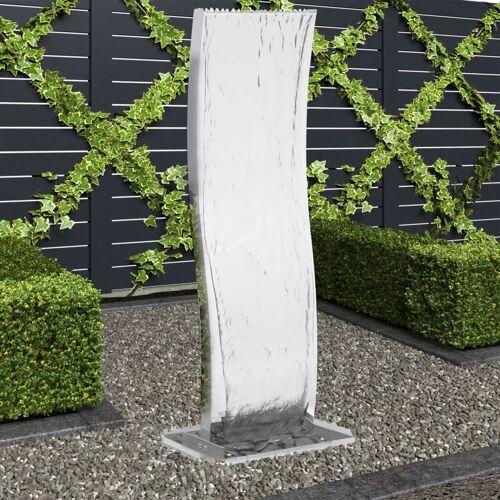 vidaXL Gartenbrunnen mit Pumpe Edelstahl 130 cm Geschwungen