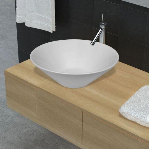 vidaXL Keramik Waschtisch Waschbecken Becken Porzellan Weiß