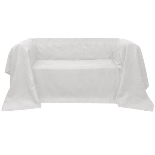 vidaXL Micro-Suede Sofaüberwurf Tagesdecke Creme 140 x 210 cm