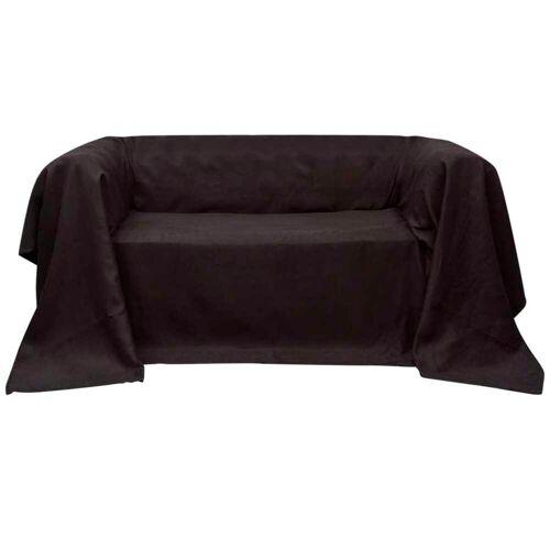vidaXL Micro-Suede Sofaüberwurf Tagesdecke Braun 140 x 210 cm